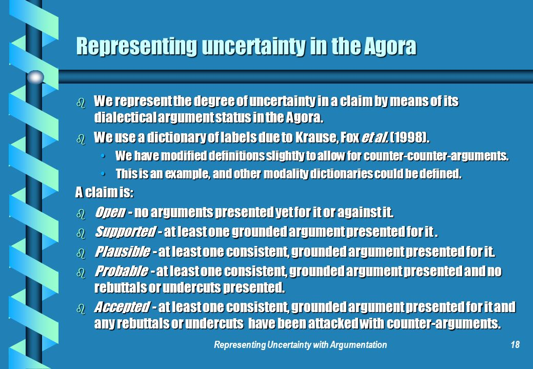 Representing Uncertainty with Argumentation18 Representing uncertainty in the Agora b We represent the degree of uncertainty in a claim by means of it