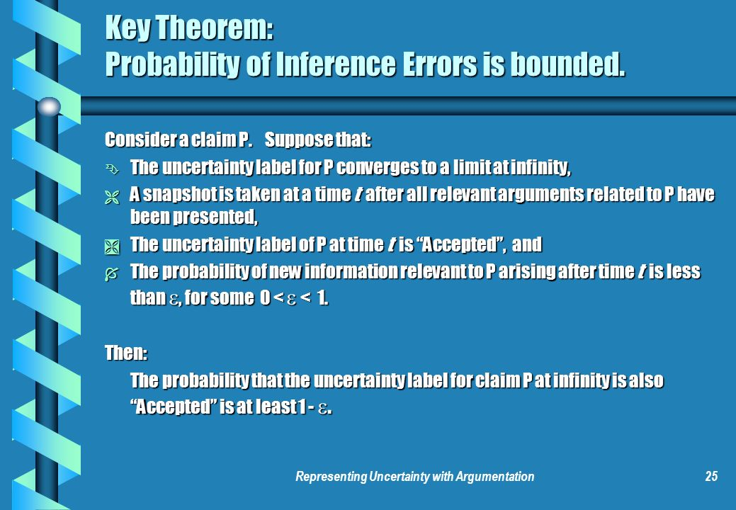 Representing Uncertainty with Argumentation25 Key Theorem: Probability of Inference Errors is bounded.
