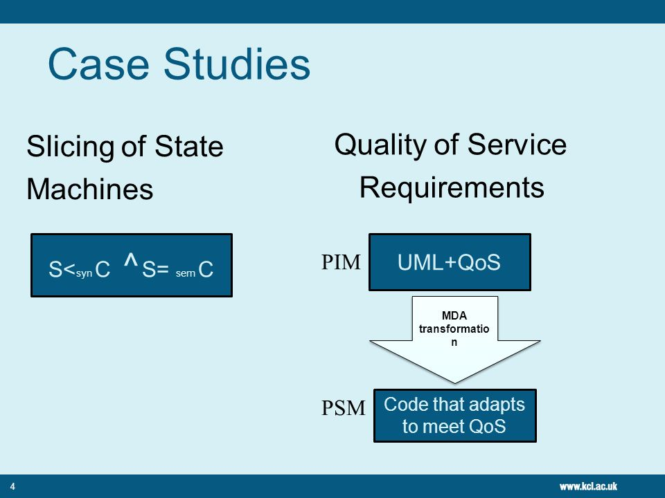 Case Studies 4 Slicing of State Machines Quality of Service Requirements S< syn C ^ S= sem C UML+QoS MDA transformatio n MDA transformatio n Code that