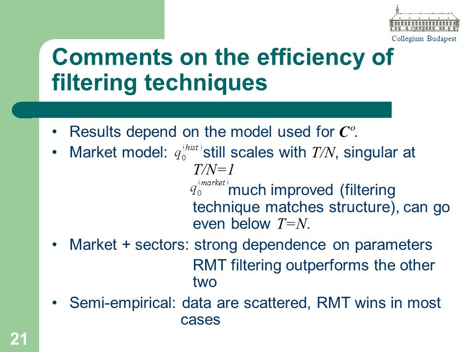 Collegium Budapest 21 Comments on the efficiency of filtering techniques Results depend on the model used for Cº.