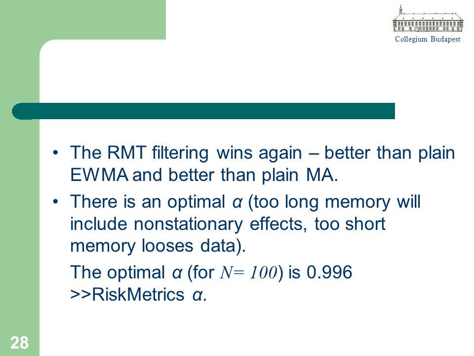 Collegium Budapest 28 The RMT filtering wins again – better than plain EWMA and better than plain MA.