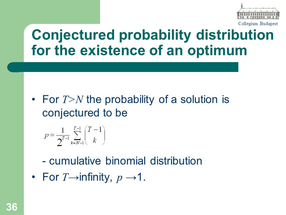 Collegium Budapest 36 Conjectured probability distribution for the existence of an optimum For T>N the probability of a solution is conjectured to be - cumulative binomial distribution For T infinity, p 1.