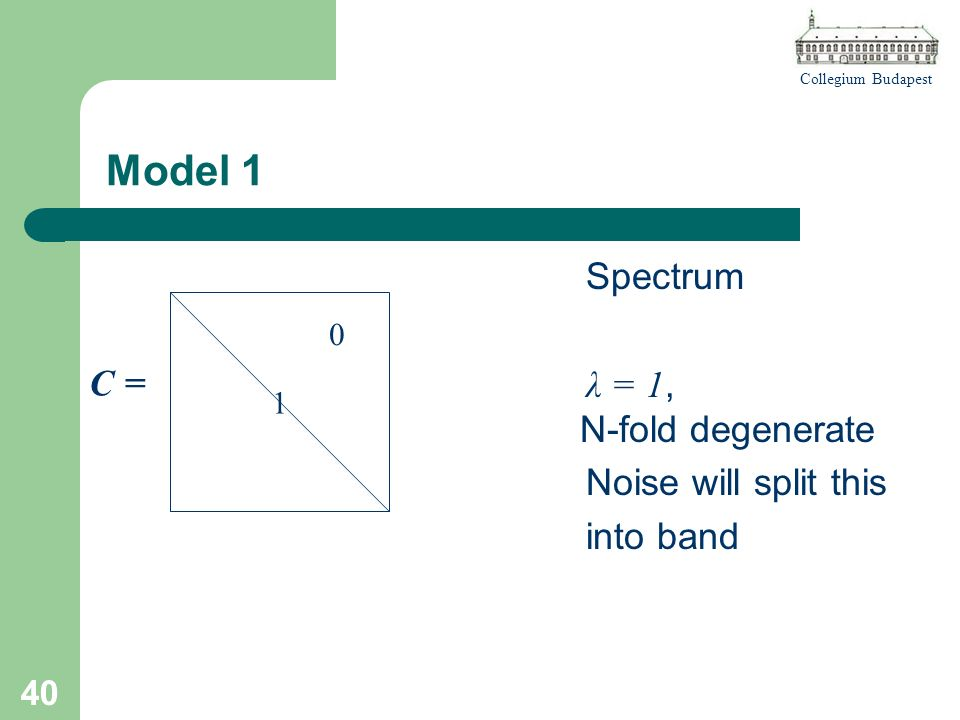 Collegium Budapest 40 Model 1 Spectrum λ = 1, N-fold degenerate Noise will split this into band 1 0 C =C =
