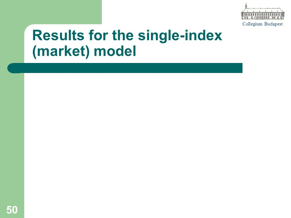 Collegium Budapest 50 Results for the single-index (market) model