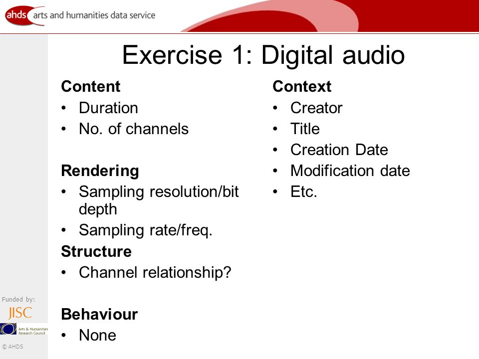 Funded by: © AHDS Exercise 1: Digital audio Content Duration No.