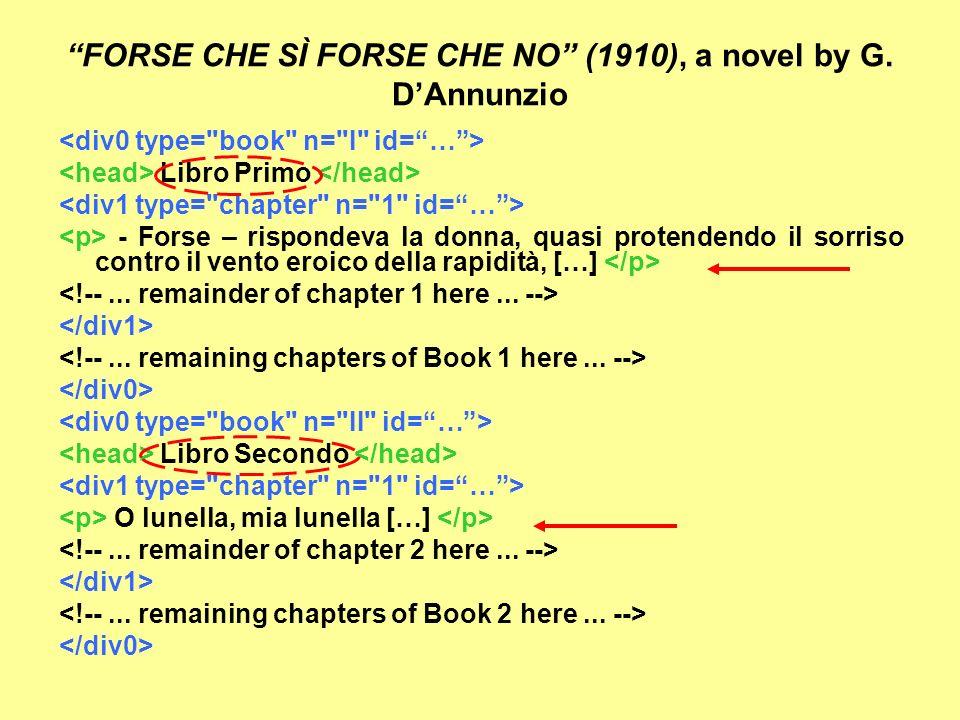 FORSE CHE SÌ FORSE CHE NO (1910), a novel by G. DAnnunzio Libro Primo - Forse – rispondeva la donna, quasi protendendo il sorriso contro il vento eroi