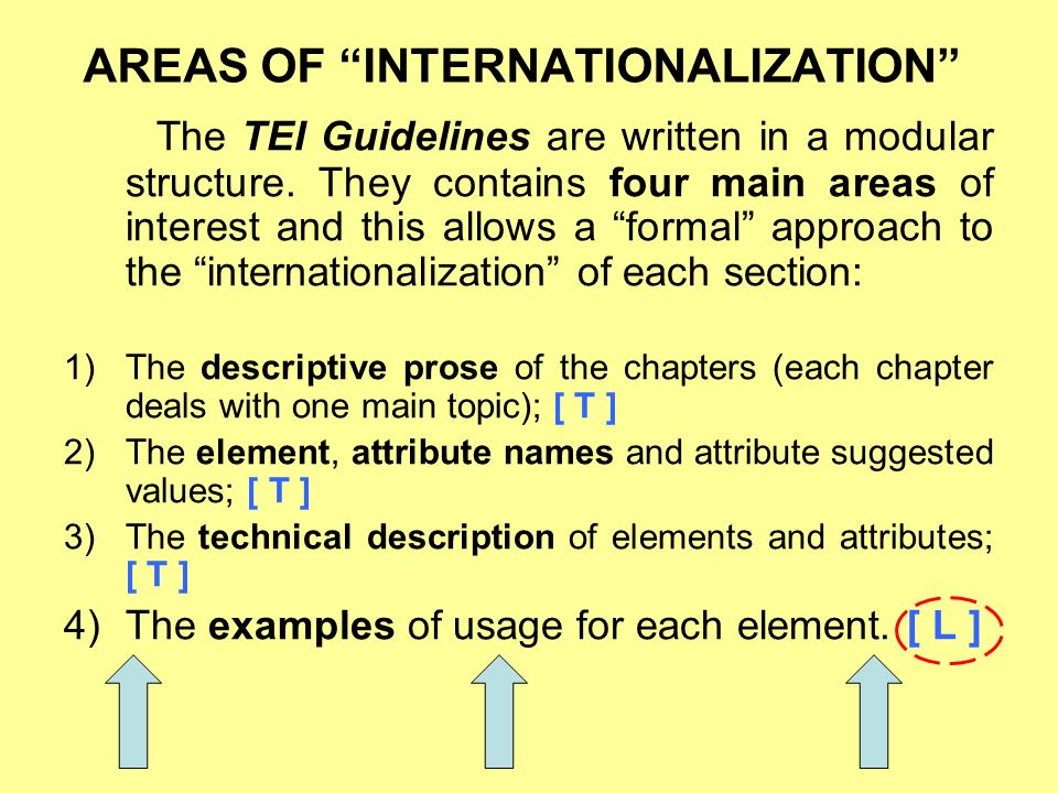 AREAS OF INTERNATIONALIZATION The TEI Guidelines are written in a modular structure.