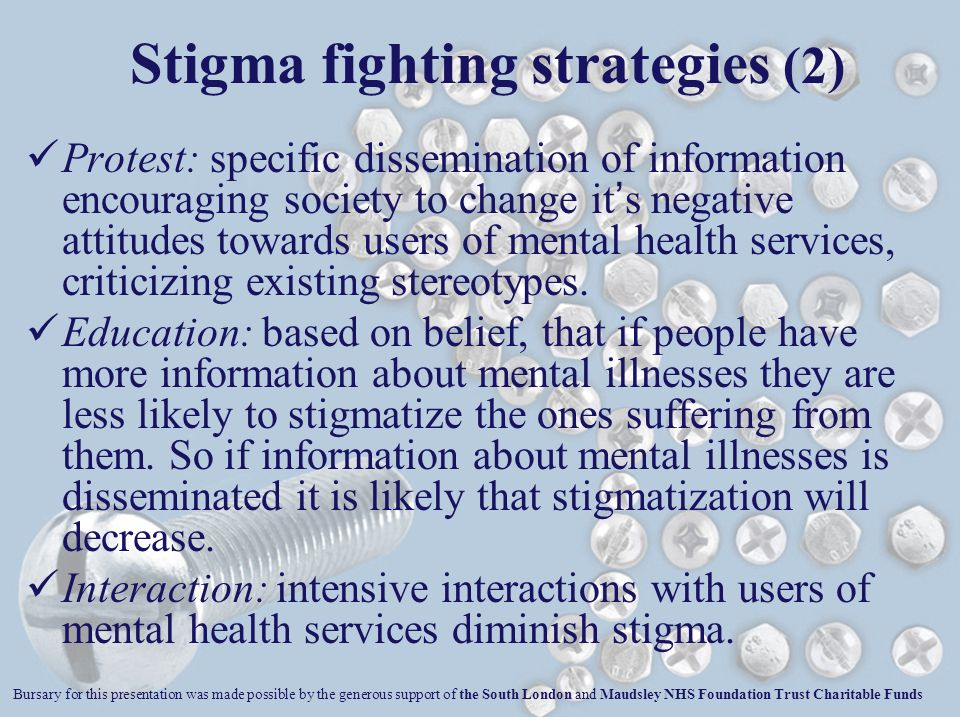 Protest: specific dissemination of information encouraging society to change it s negative attitudes towards users of mental health services, criticizing existing stereotypes.