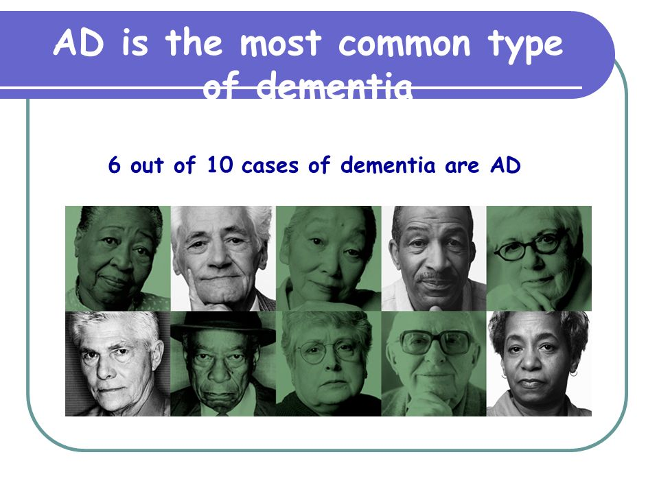 AD is the most common type of dementia 6 out of 10 cases of dementia are AD