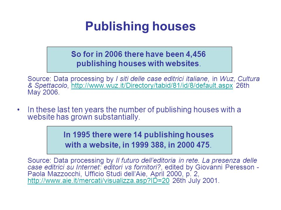 Publishing houses Source: Data processing by I siti delle case editrici italiane, in Wuz, Cultura & Spettacolo, http://www.wuz.it/Directory/tabid/81/id/8/default.aspx 26th May 2006.http://www.wuz.it/Directory/tabid/81/id/8/default.aspx In these last ten years the number of publishing houses with a website has grown substantially.