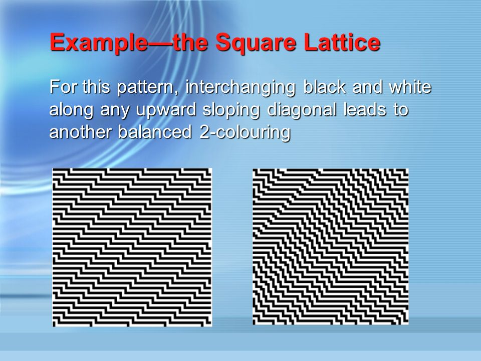Nearest-neighbour coupling Balanced 2-colouring Examplethe Square Lattice