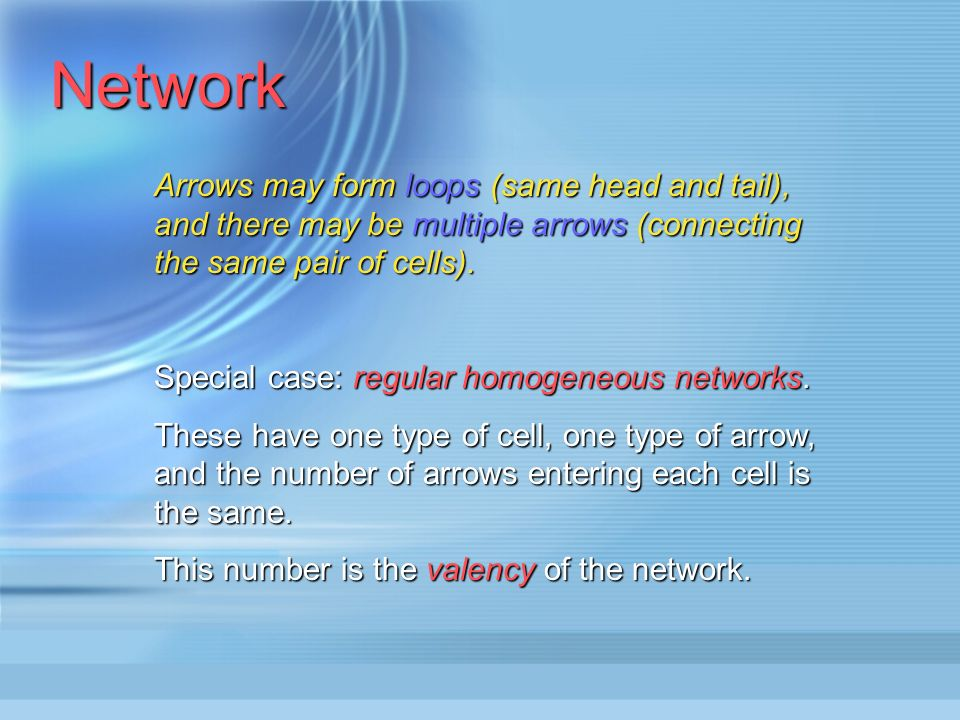 Network Each cell has a cell-type and each arrow has an arrow-type, allowing us to require the cells or arrows concerned to have the same structure. I