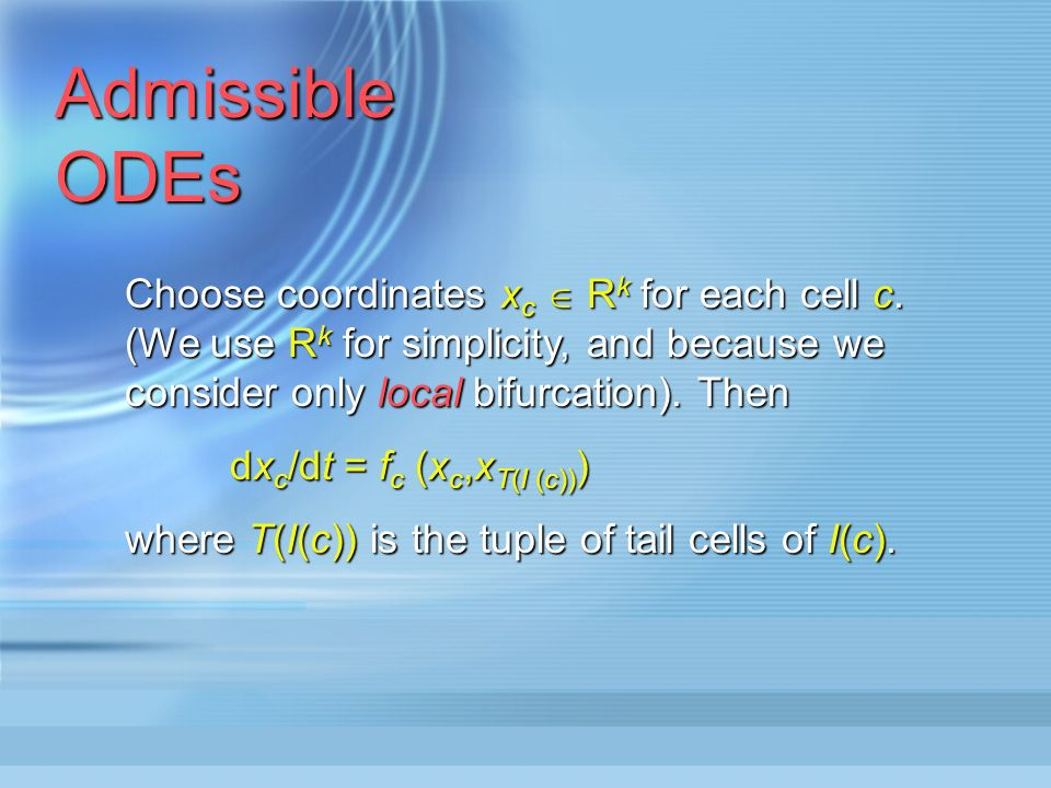 Admissible ODEs The input set I(c) of a cell c is the set of all arrows whose head is c.
