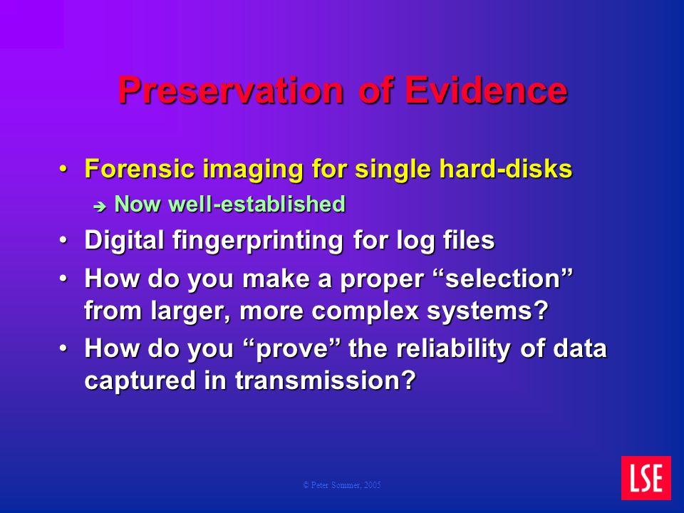 © Peter Sommer, 2005 Preservation of Evidence Forensic imaging for single hard-disksForensic imaging for single hard-disks Now well-established Now we
