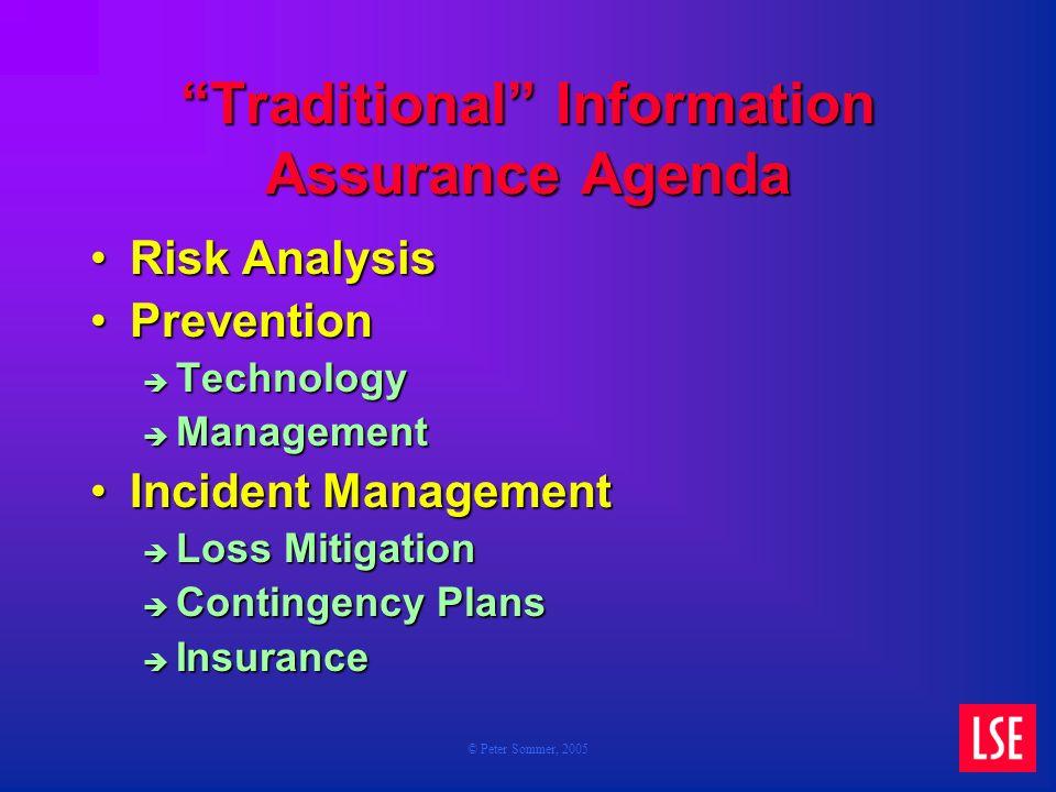 © Peter Sommer, 2005 Traditional Information Assurance Agenda Risk AnalysisRisk Analysis PreventionPrevention Technology Technology Management Managem