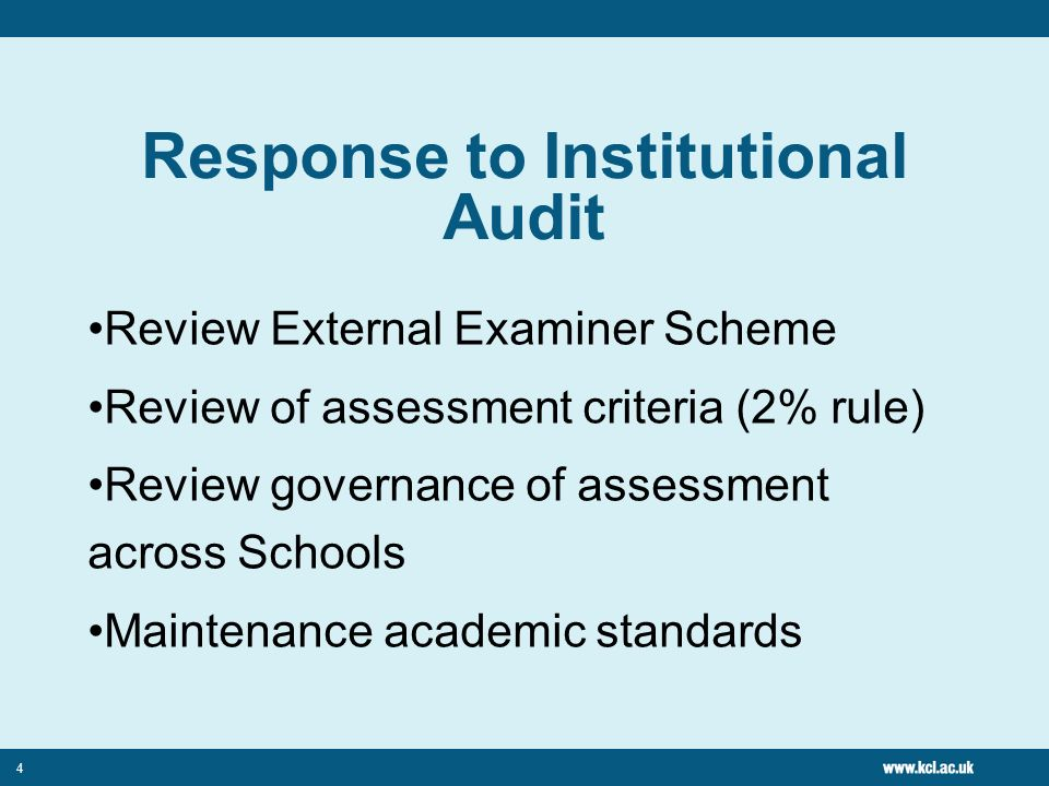 4 Response to Institutional Audit Review External Examiner Scheme Review of assessment criteria (2% rule) Review governance of assessment across Schools Maintenance academic standards