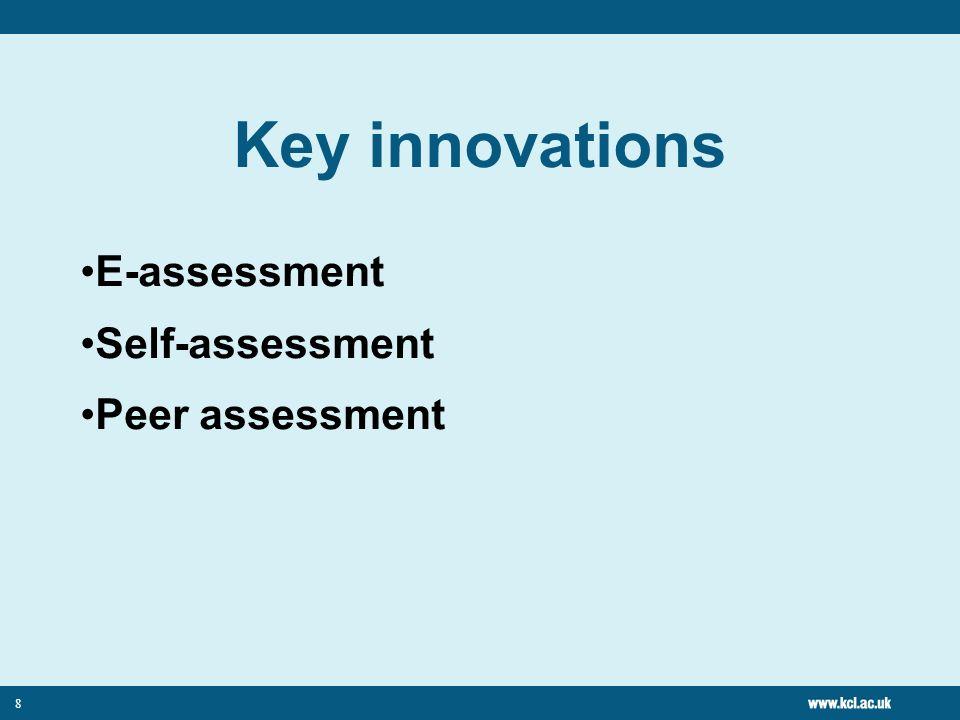 8 Key innovations E-assessment Self-assessment Peer assessment