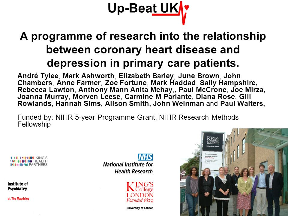 Up-Beat UK A programme of research into the relationship between coronary heart disease and depression in primary care patients.