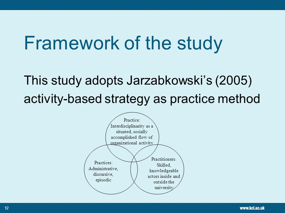 12 Framework of the study This study adopts Jarzabkowskis (2005) activity-based strategy as practice method Practice: Interdisciplinarity as a situate