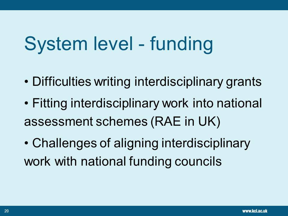 20 System level - funding Difficulties writing interdisciplinary grants Fitting interdisciplinary work into national assessment schemes (RAE in UK) Challenges of aligning interdisciplinary work with national funding councils