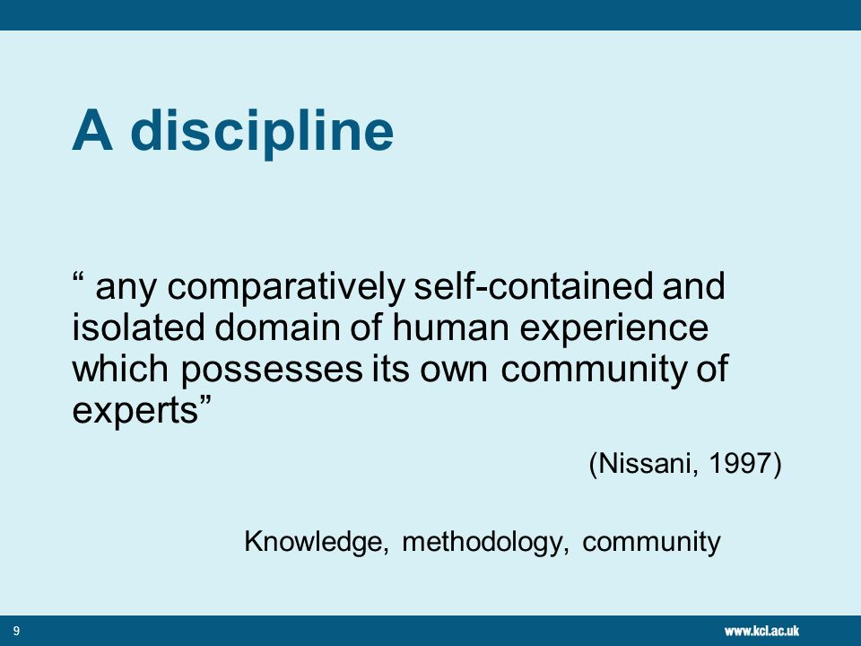 10 Interdisciplinarity a means of solving problems and answering questions that cannot be satisfactorily addressed using single methods or approaches (Klein, 1990) Requires integration