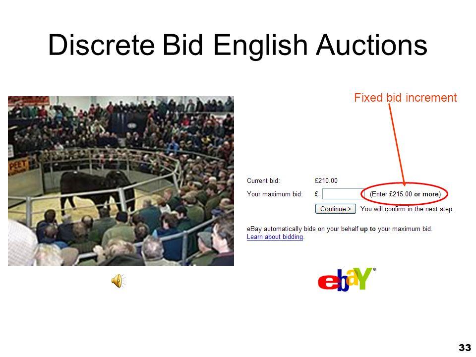 33 Discrete Bid English Auctions Fixed bid increment