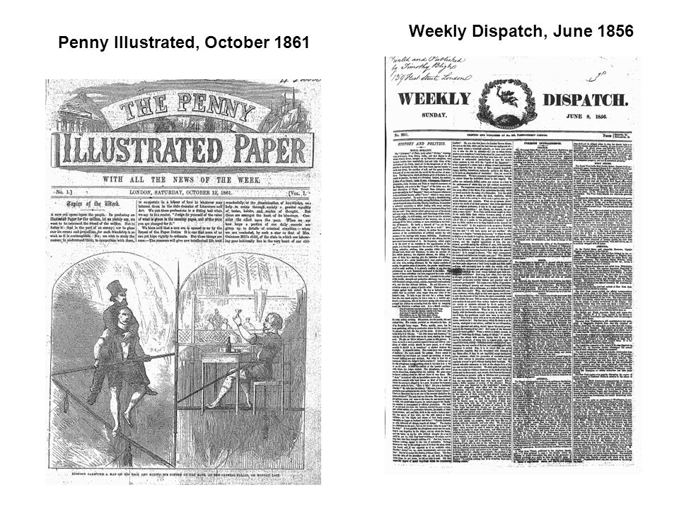 Penny Illustrated, October 1861 Weekly Dispatch, June 1856