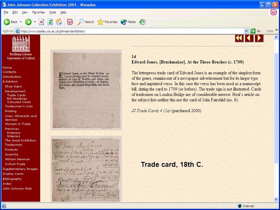 Trade card, 18th C.