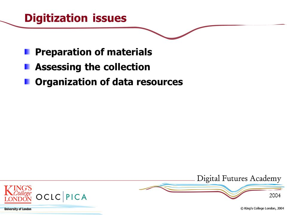 Digitization issues Preparation of materials Assessing the collection Organization of data resources