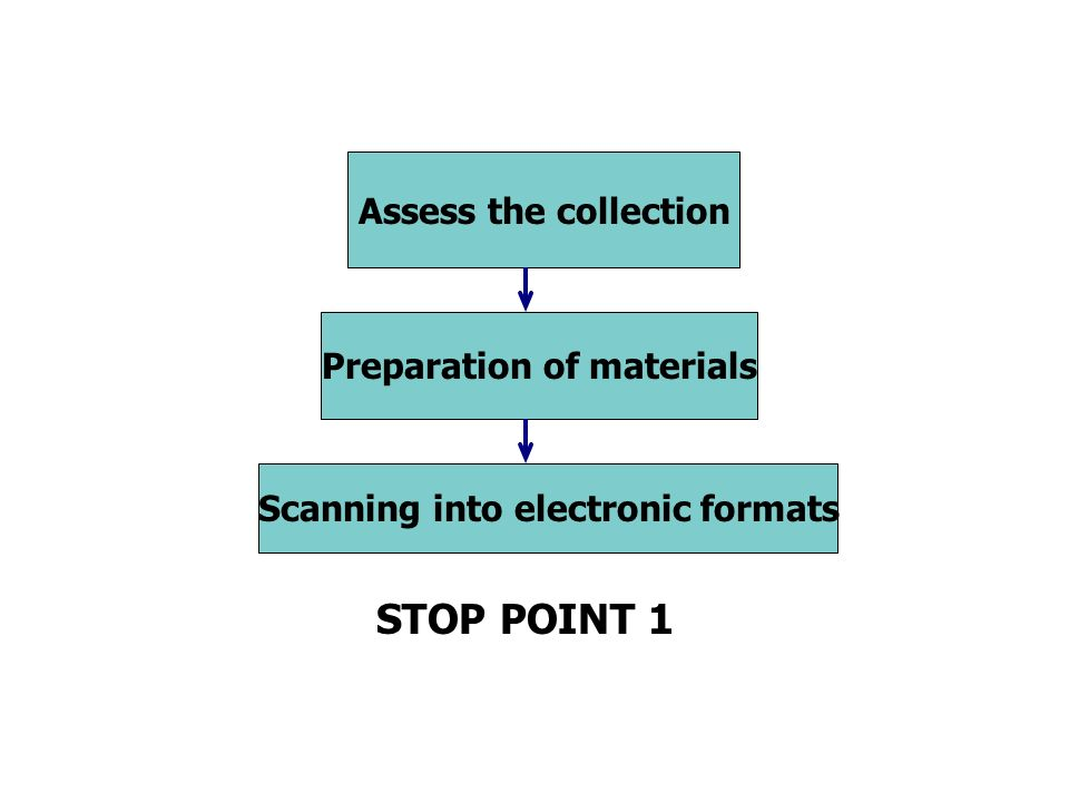 Scanning into electronic formats Preparation of materials Assess the collection STOP POINT 1