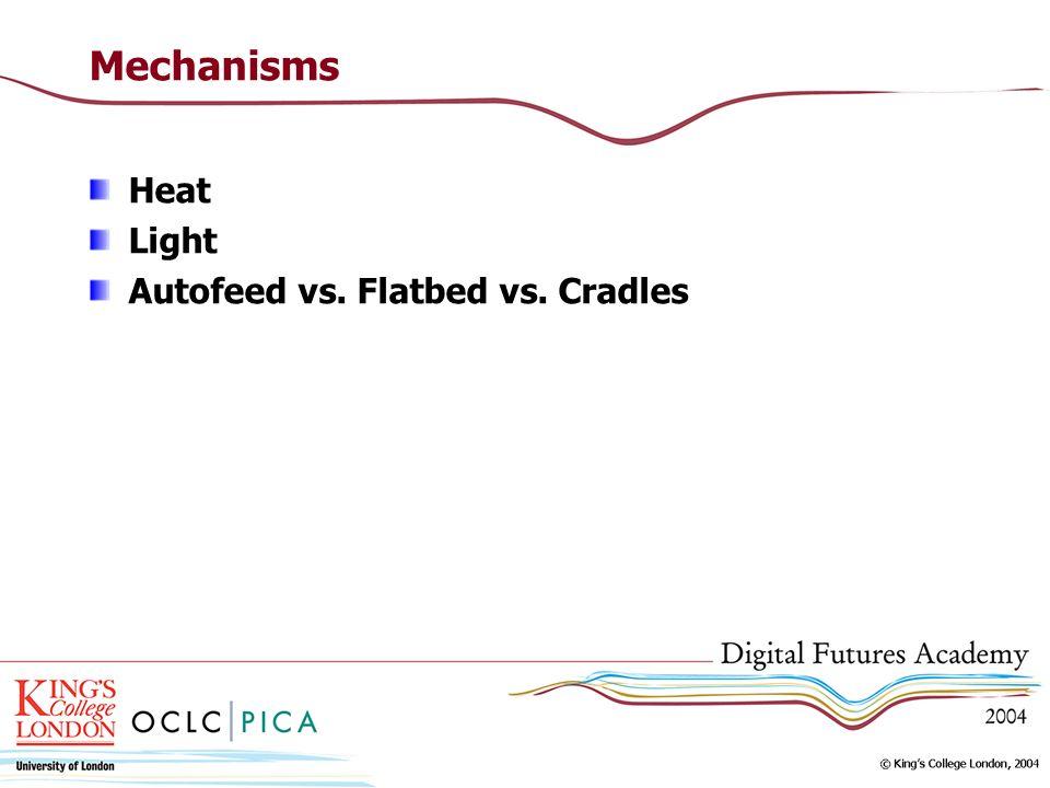 Mechanisms Heat Light Autofeed vs. Flatbed vs. Cradles