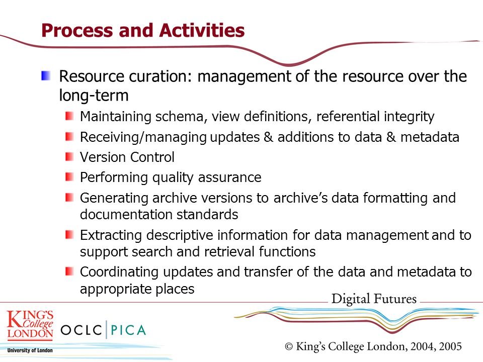 Process and Activities Resource curation: management of the resource over the long-term Maintaining schema, view definitions, referential integrity Receiving/managing updates & additions to data & metadata Version Control Performing quality assurance Generating archive versions to archives data formatting and documentation standards Extracting descriptive information for data management and to support search and retrieval functions Coordinating updates and transfer of the data and metadata to appropriate places