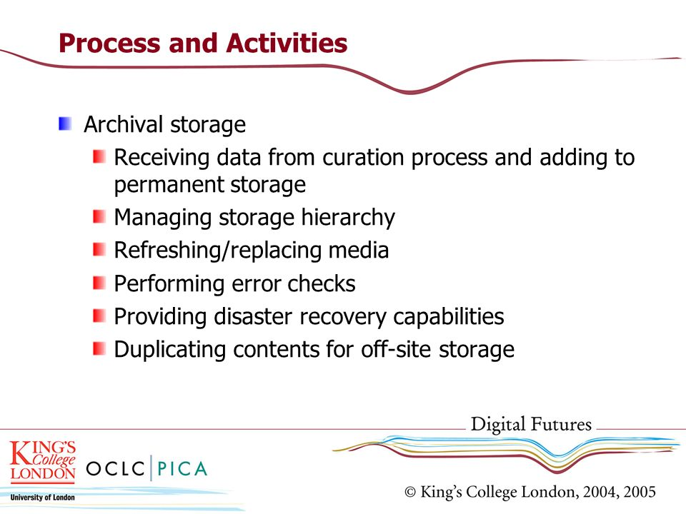 Process and Activities Archival storage Receiving data from curation process and adding to permanent storage Managing storage hierarchy Refreshing/replacing media Performing error checks Providing disaster recovery capabilities Duplicating contents for off-site storage