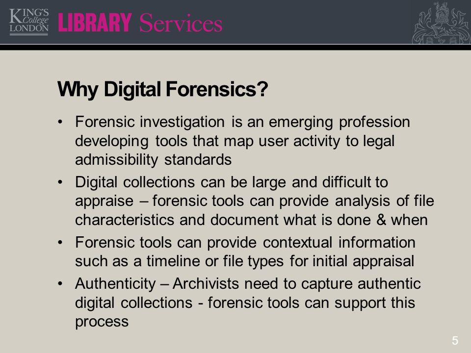 6 Digital forensics vs Digital appraisal Different language – terms mean different things to each practitioner Confidence & skills – Digital archive skills are much closer to forensics or IT than traditional skills Forensics are dealing with potential crime scene – archivists work with the co-operation of the depositor Forensics want all available information including deleted documents & browser history whereas archivists may only have consent to take files defined by the donor