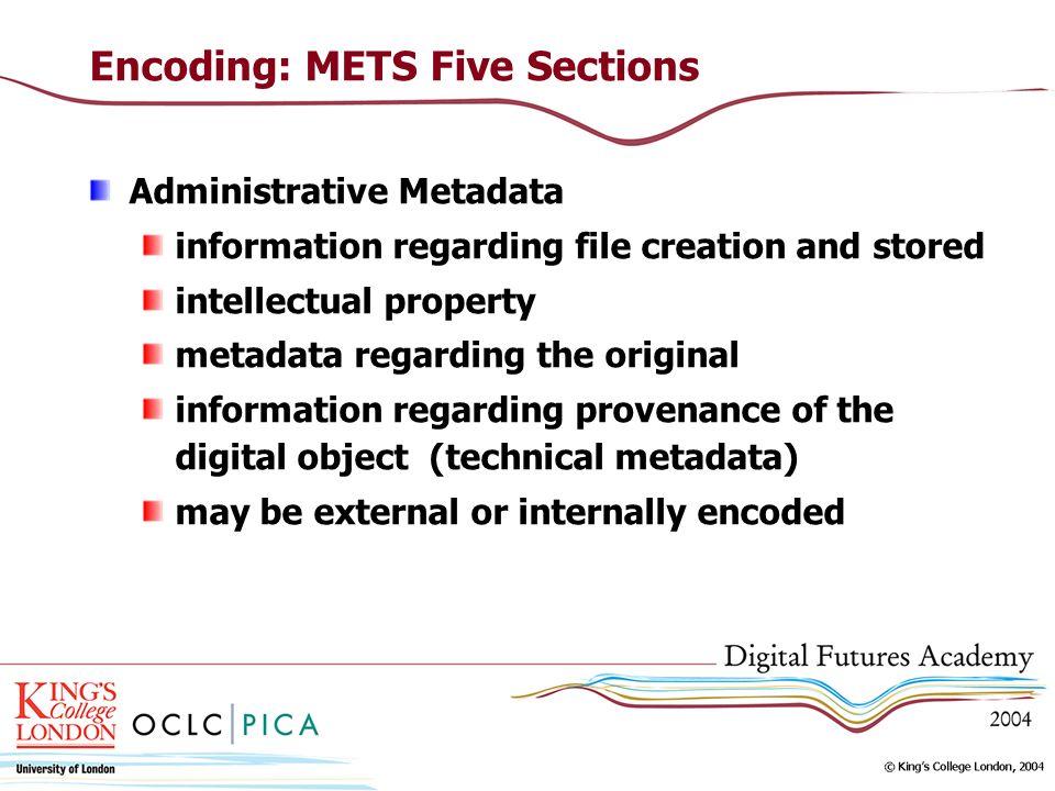 Encoding: METS Five Sections Administrative Metadata information regarding file creation and stored intellectual property metadata regarding the origi