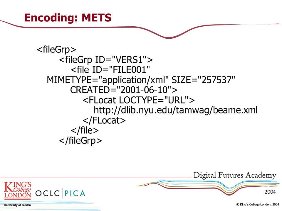 Encoding: METS http://dlib.nyu.edu/tamwag/beame.xml