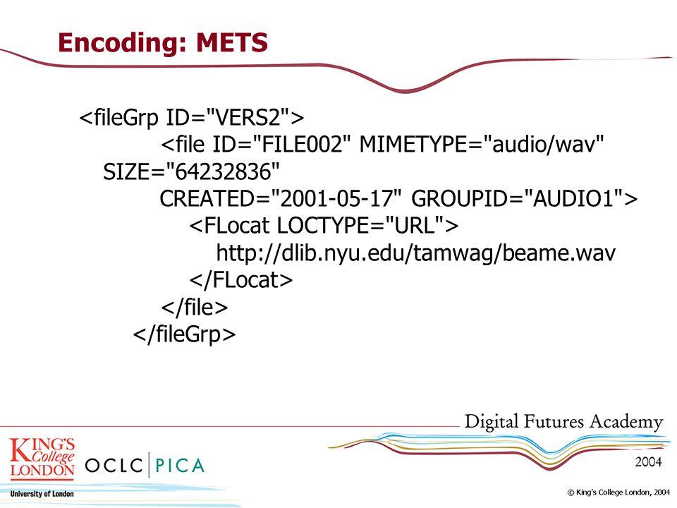 Encoding: METS http://dlib.nyu.edu/tamwag/beame.wav