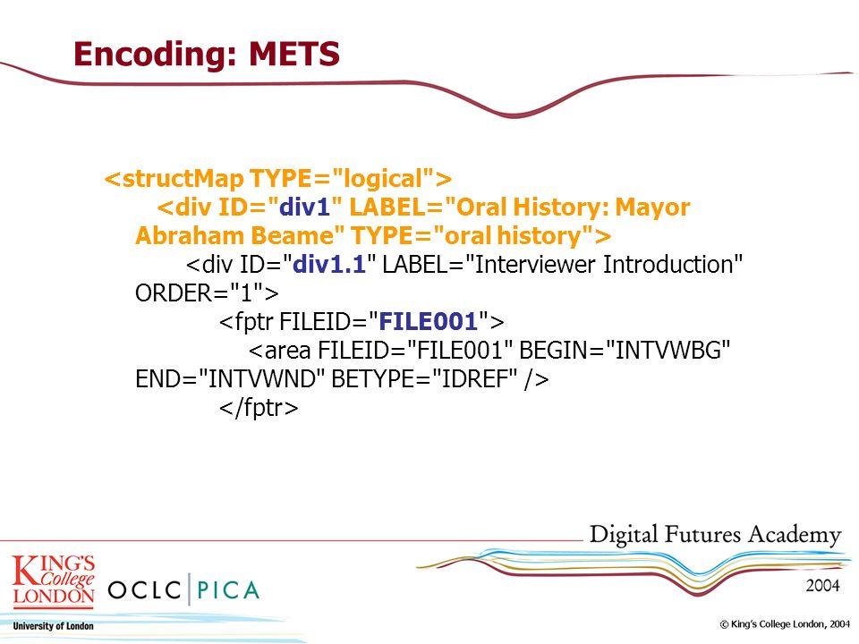 Encoding: METS