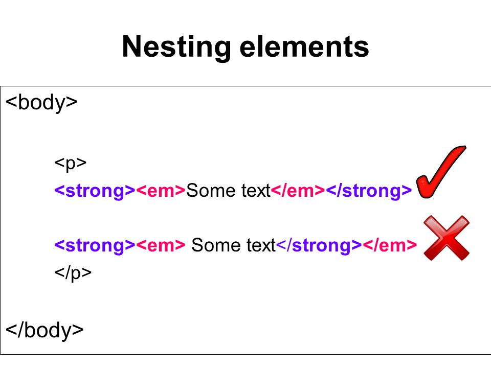 Nesting elements Some text