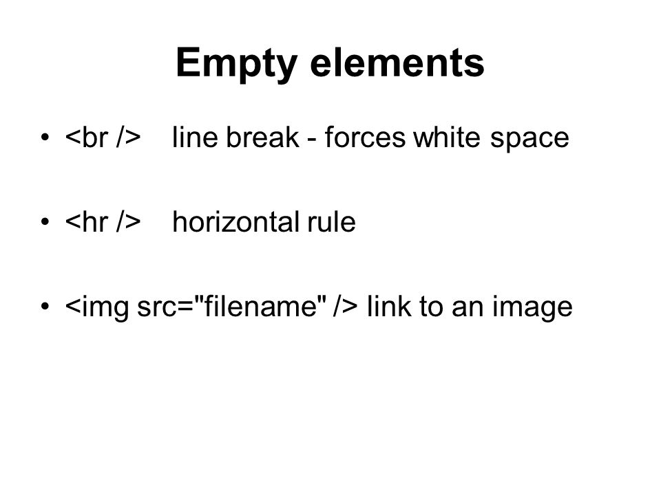 Empty elements line break - forces white space horizontal rule link to an image