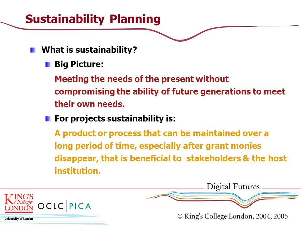 Sustainability Planning What is sustainability.