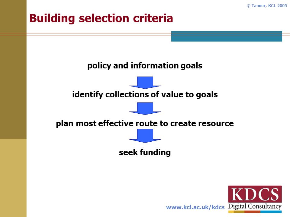 www.kcl.ac.uk/kdcs © Tanner, KCL 2005 Building selection criteria policy and information goals identify collections of value to goals plan most effective route to create resource seek funding