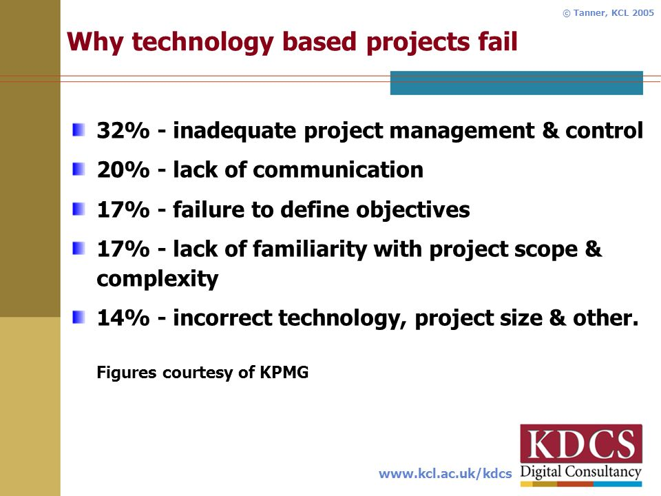 www.kcl.ac.uk/kdcs © Tanner, KCL 2005 Why technology based projects fail 32% - inadequate project management & control 20% - lack of communication 17% - failure to define objectives 17% - lack of familiarity with project scope & complexity 14% - incorrect technology, project size & other.