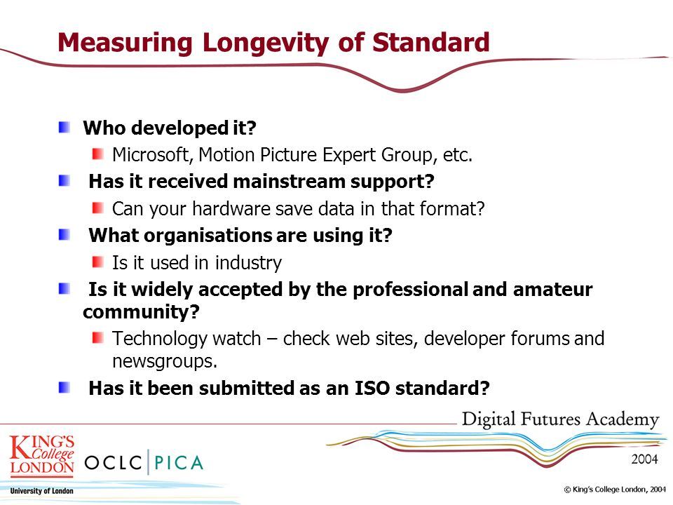 Measuring Longevity of Standard Who developed it. Microsoft, Motion Picture Expert Group, etc.