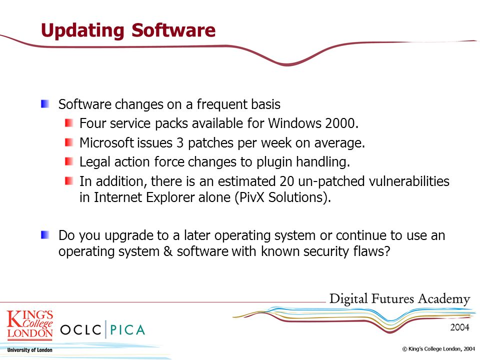 Updating Software Software changes on a frequent basis Four service packs available for Windows 2000.