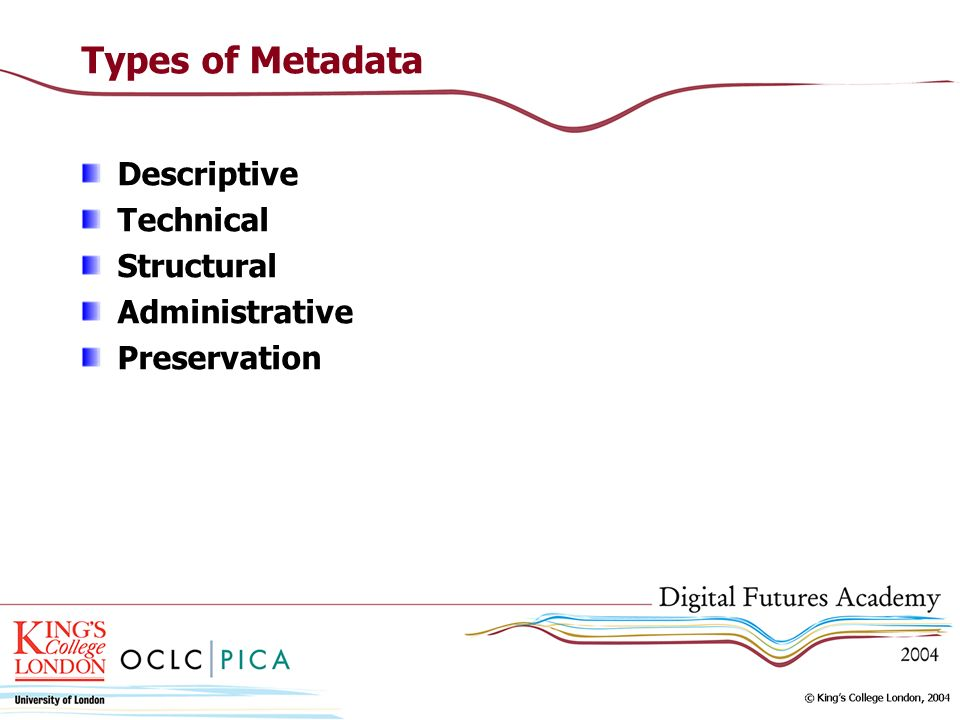 Types of Metadata Descriptive Technical Structural Administrative Preservation