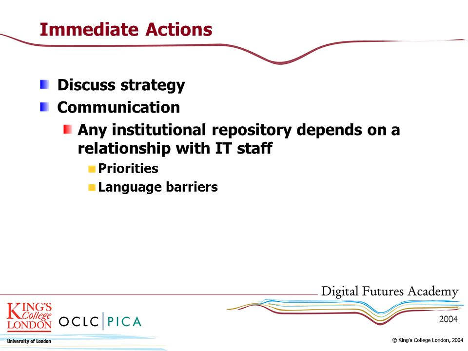 Immediate Actions Discuss strategy Communication Any institutional repository depends on a relationship with IT staff Priorities Language barriers