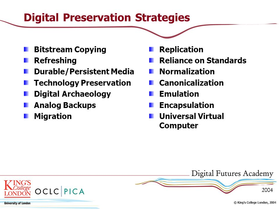Digital Preservation Strategies Bitstream Copying Refreshing Durable/Persistent Media Technology Preservation Digital Archaeology Analog Backups Migra