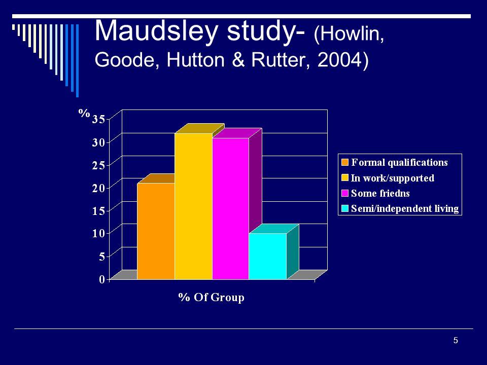 5 Maudsley study- (Howlin, Goode, Hutton & Rutter, 2004)