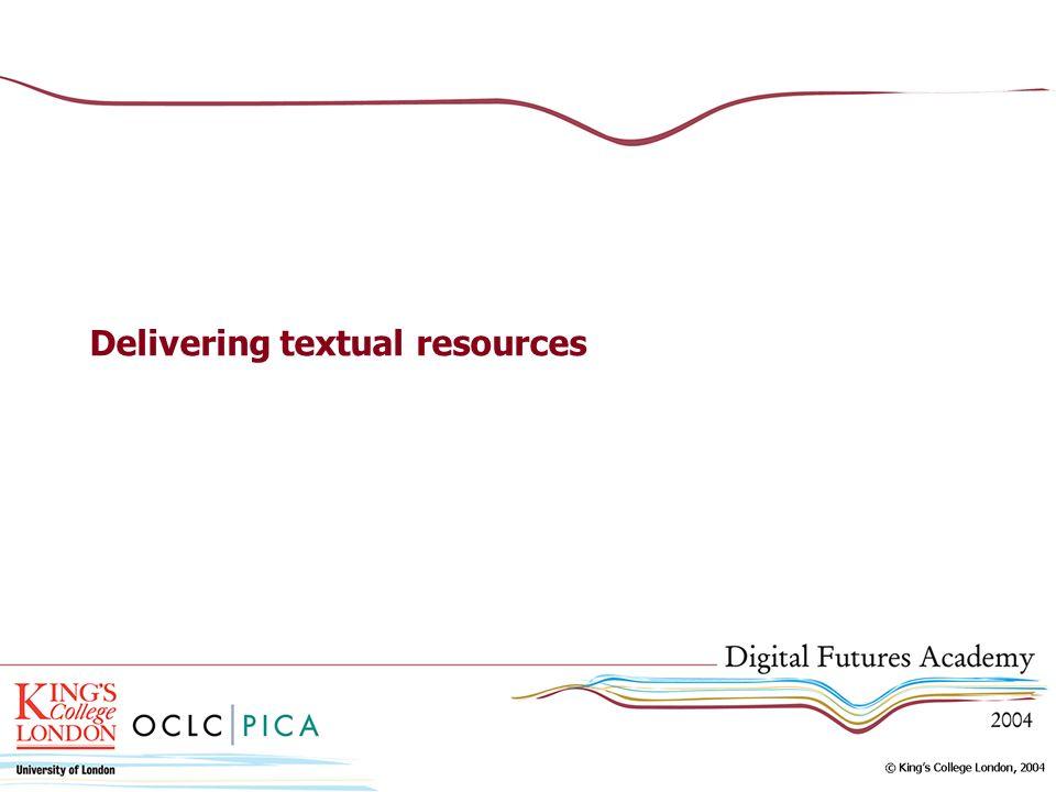Delivering textual resources